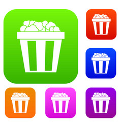 Box of popcorn set collection vector