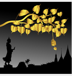 Buddha statue and gold bodhi tree with golden vector