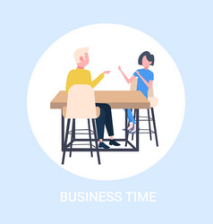 businesspeople couple sitting at workplace desk vector image