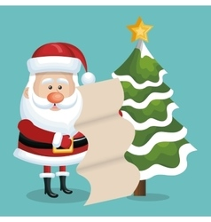 card xmas santa claus with list gift and tree snow vector image