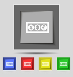 Cash currency icon sign on original five colored vector image