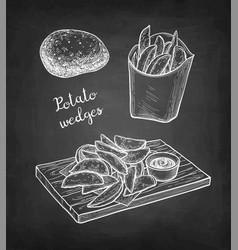 chalk sketch potato wedges vector image