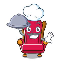 Chef with food king throne mascot cartoon vector