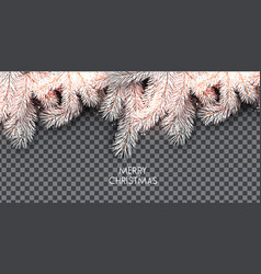 christmas background with white fir twig vector image
