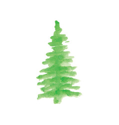 Christmas tree with hand painted watercolor vector