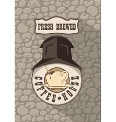 coffee house on the brick wall vector image