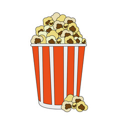 color image cartoon popcorn in cardboard vector image