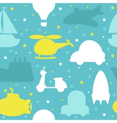 Cute seamless pattern with silhouette of transport vector