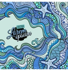 Decorative marine sealife ethnic background vector