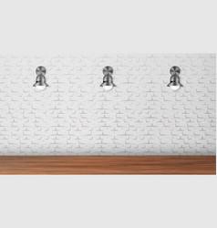 Design black sconces on white brick wall vector