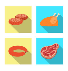 Design of meat and ham sign collection of vector