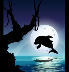 Dolphin in nature scene silhouette vector