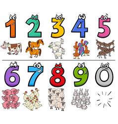Educational cartoon numbers set with farm animal vector