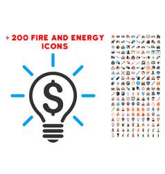 Electric light price icon with bonus power set vector
