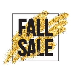 Fall Sale promo label Golden glitter template for vector