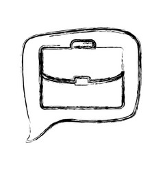 Figure square chat bubble with briefcase inside vector