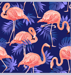 flamingo bird and tropical flowers background vector image vector image