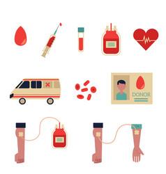 Flat blood donation symbols set vector