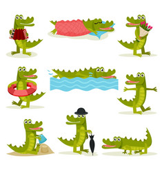 flat set of funny crocodile in different vector image