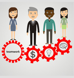 flat style modern effective process teamwork vector image