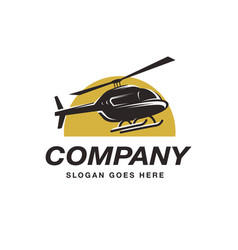 flying helicopter logo icon template vector image
