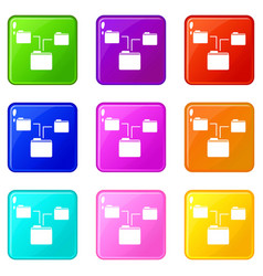 folders structure icons 9 set vector image