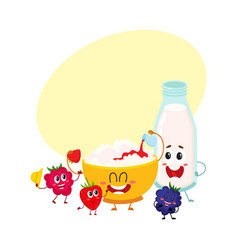 Funny bowl of cottage cheese milk bottle and vector