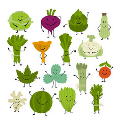 funny smiling vegetables and greens characters vector image