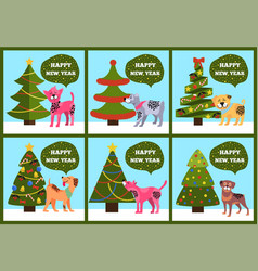 Greeting cards on green merry wish puppy tree set vector