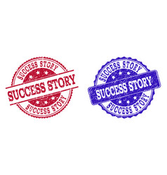 grunge scratched success story seal stamps vector image