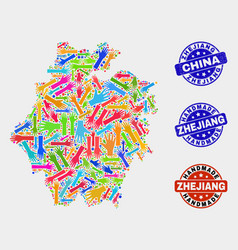Hand collage zhejiang province map and grunge vector