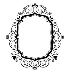 Hand drawn vintage frame with floral ornament vector image