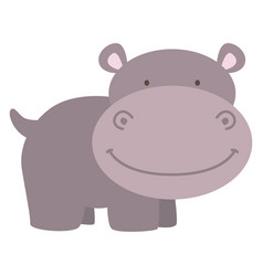 happy little hippo on white background vector image