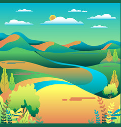 Hills and mountains landscape in flat style vector