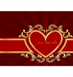 horizontal label with a heart vector image