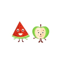Humanized Apple And Watermelon vector image