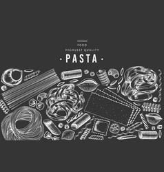 italian pasta design template hand drawn food on vector image