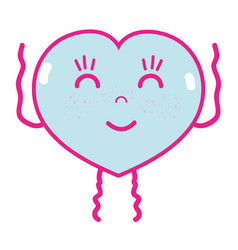 Kawaii cute happy heart love vector