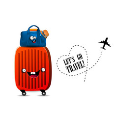 Lets travel family travel excursions suitcase and vector