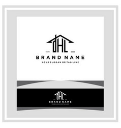 Letter dhl home roof logo design and business card vector