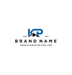 Letter kp mountain logo design vector