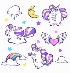 Little unicorn cute cartoon fantasy collection vector