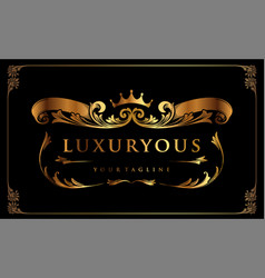 luxury gold badge with ribbon and crown vector image