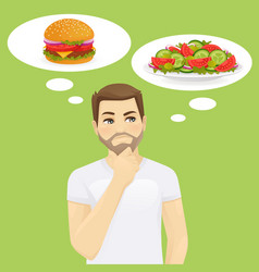 man thinking about food vector image