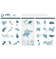 Maps set high detailed 44 maps of asian countries vector