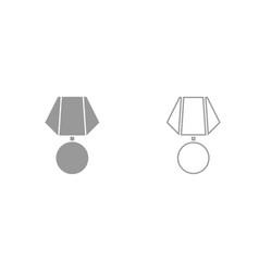 Medal grey set icon vector