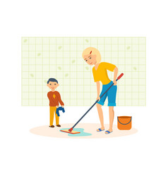 Mother washes the floors with a mop in the room vector