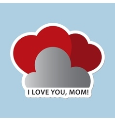 Mothers Day card with two red hearts and text vector image