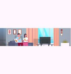 over size couple eating pizza man woman watching vector image
