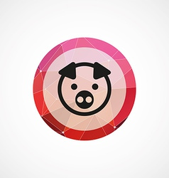 Pig circle pink triangle background icon vector
